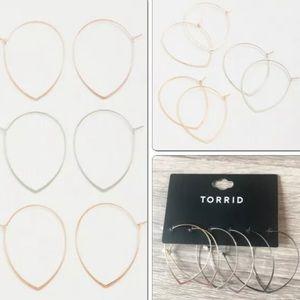 Torrid Thin Gold & Silver Toned Pear Hoop Earrings